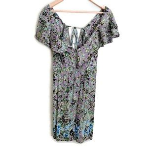 ANGIE women's green and lavender floral mini dress